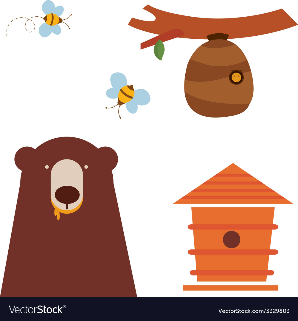 Bear and honey icons vector | Price: 1 Credit (USD $1)