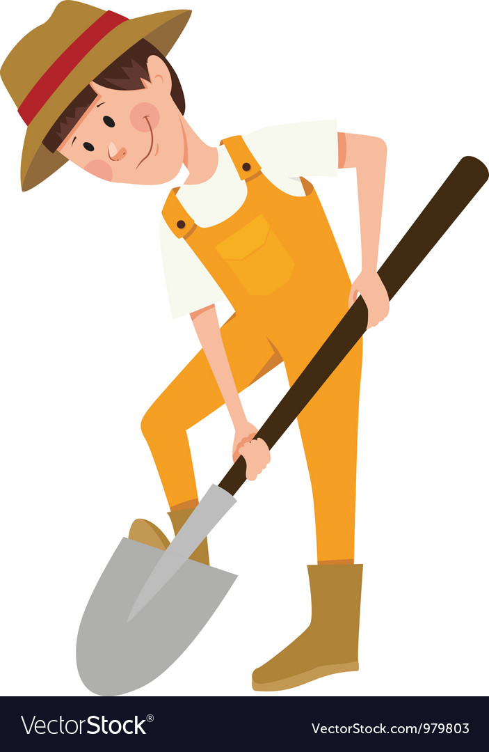 Boy digging with a shovel vector | Price: 3 Credit (USD $3)