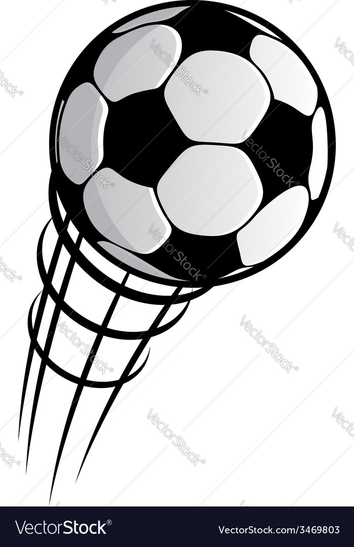 Cartooned flying soccer ball with motion trails vector | Price: 1 Credit (USD $1)