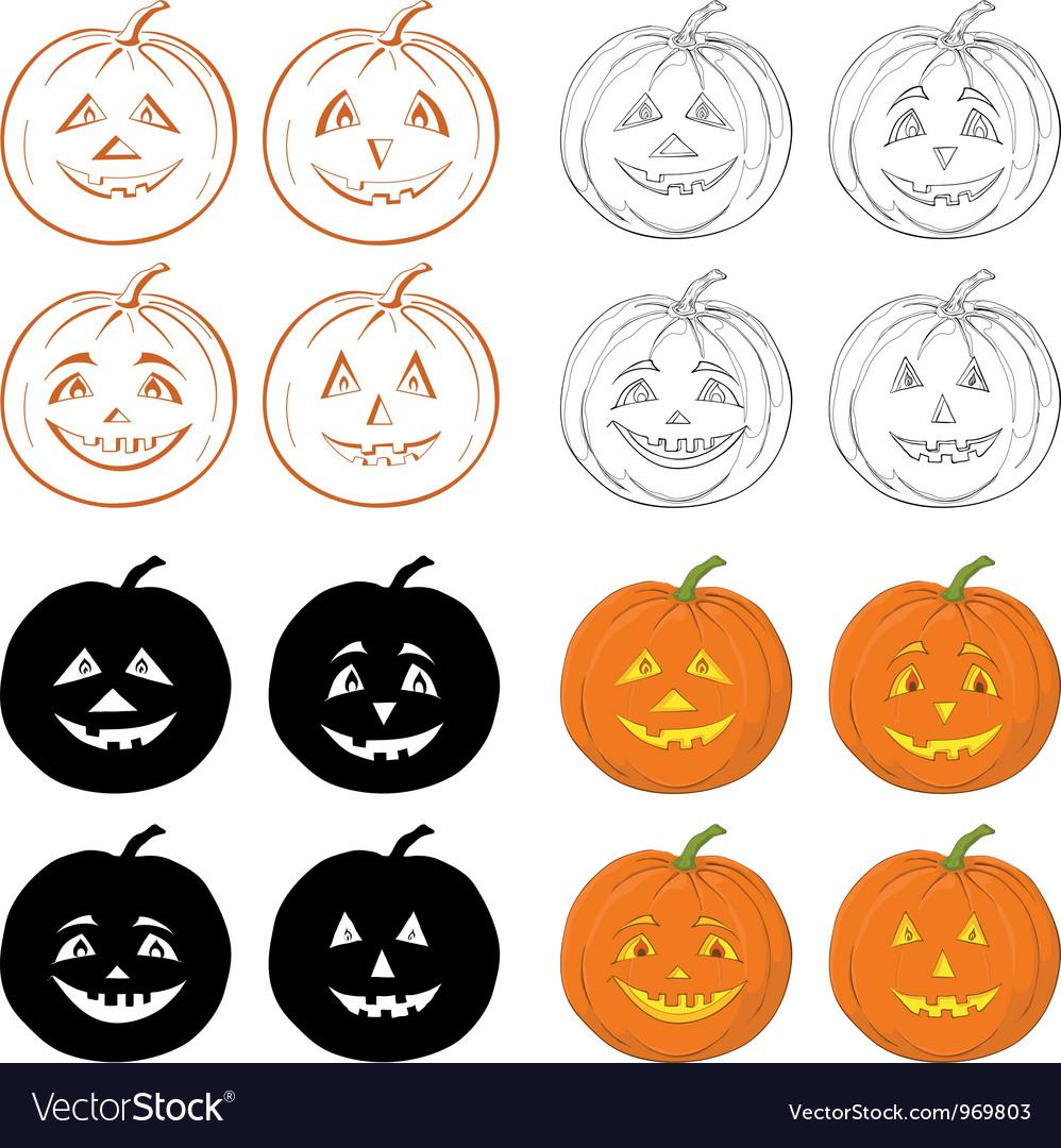 Halloween pumpkins jack o lantern set vector | Price: 1 Credit (USD $1)