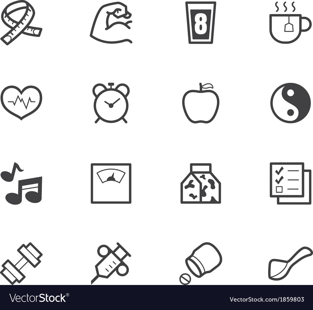 Healthy element black icon set on white background vector | Price: 1 Credit (USD $1)