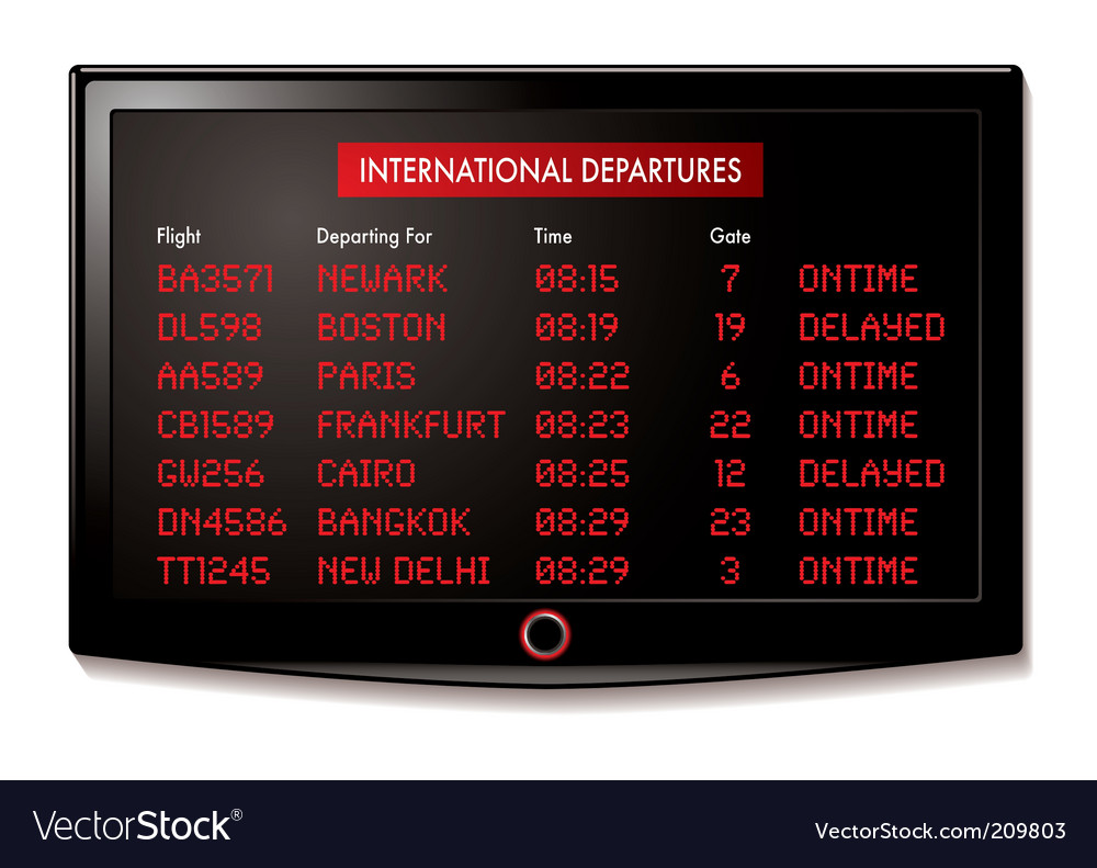 Lcd airport departure vector | Price: 1 Credit (USD $1)
