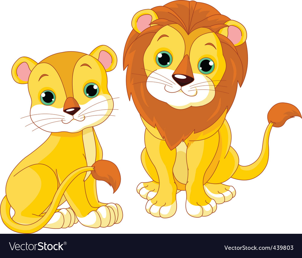 Lion couple vector | Price: 3 Credit (USD $3)