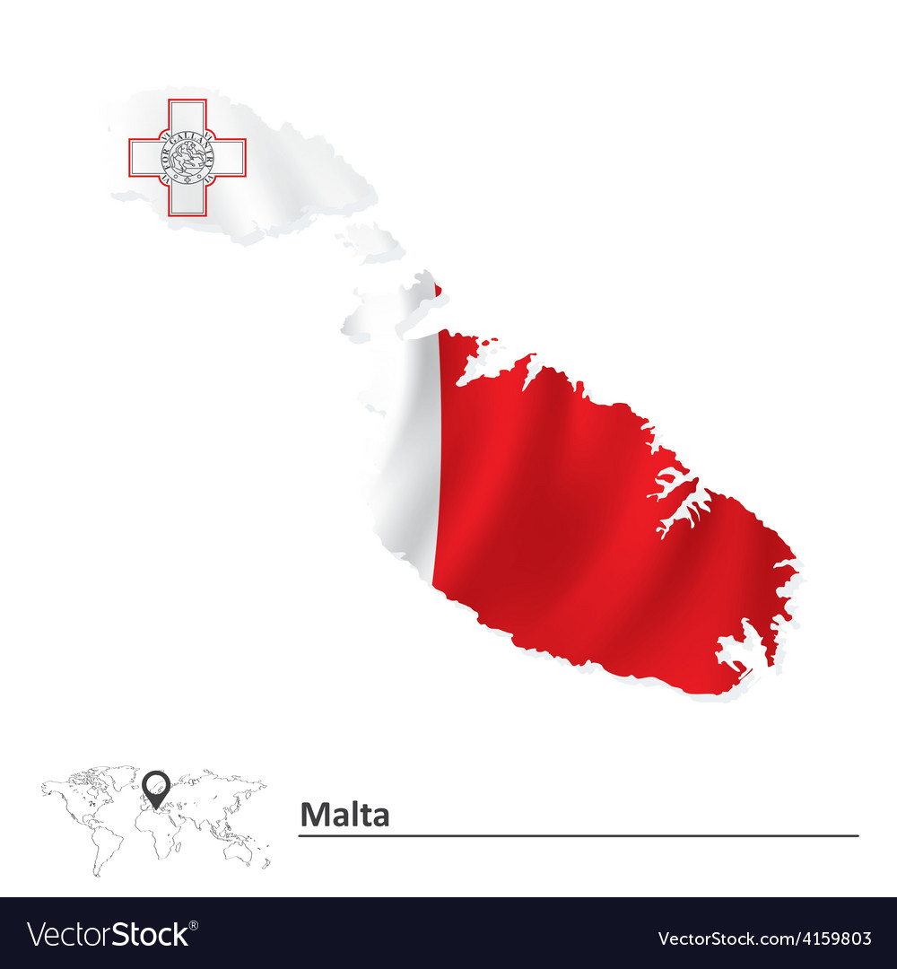 Map of malta with flag vector | Price: 1 Credit (USD $1)