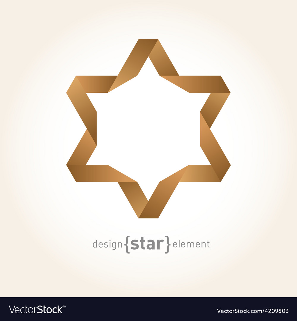 Origami david star from old paper vector | Price: 1 Credit (USD $1)