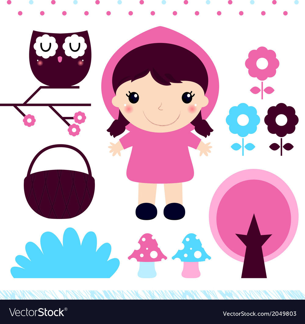 Red riding hood design elements set vector | Price: 1 Credit (USD $1)