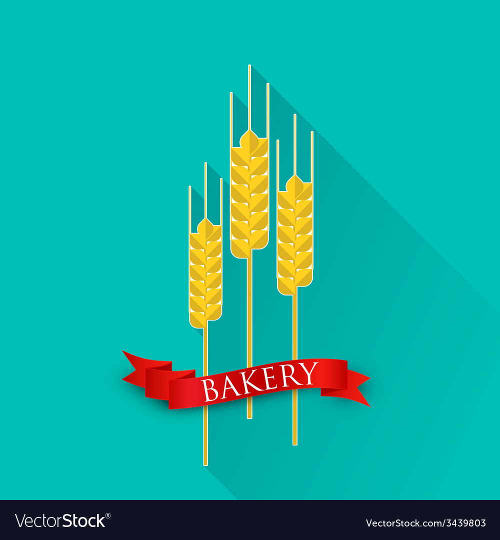 Retro with ears of wheat and red ribbon bakery vector | Price: 1 Credit (USD $1)