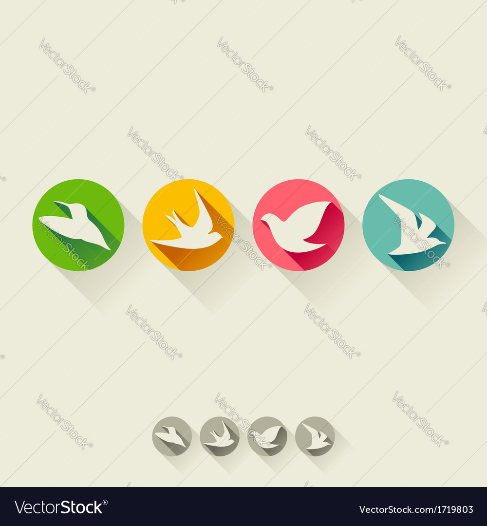 Set of birds flat icons with long shadow vector | Price: 1 Credit (USD $1)