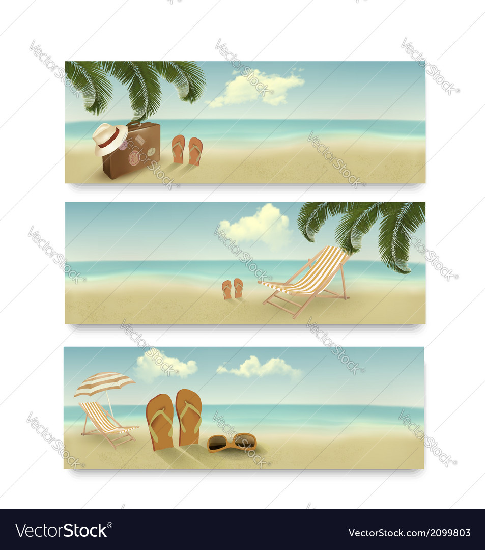Three retro summer vacation banners vector | Price: 1 Credit (USD $1)