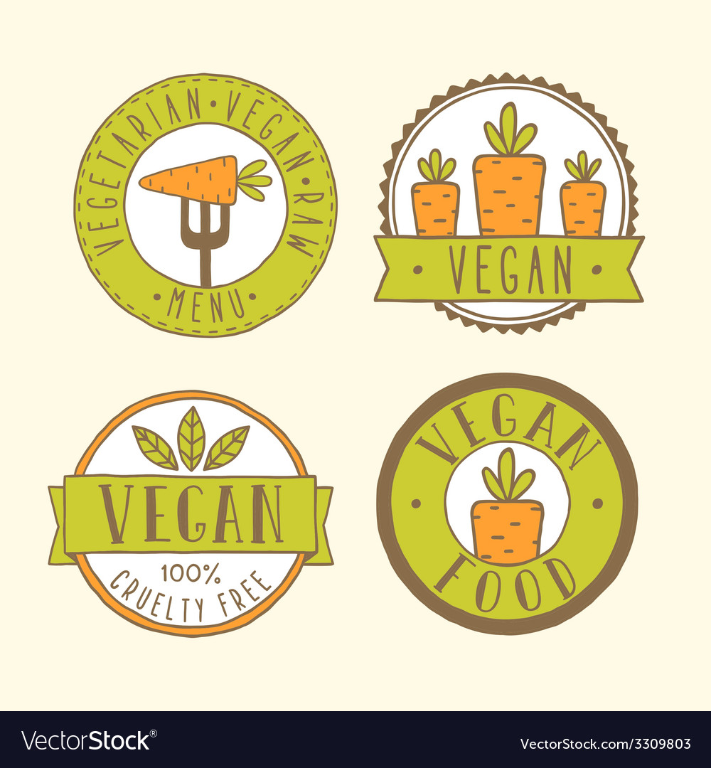 Vegan food badges vector | Price: 1 Credit (USD $1)