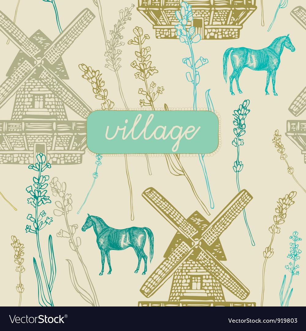 Village windmill pattern background vector   Price: 1 Credit (USD $1)