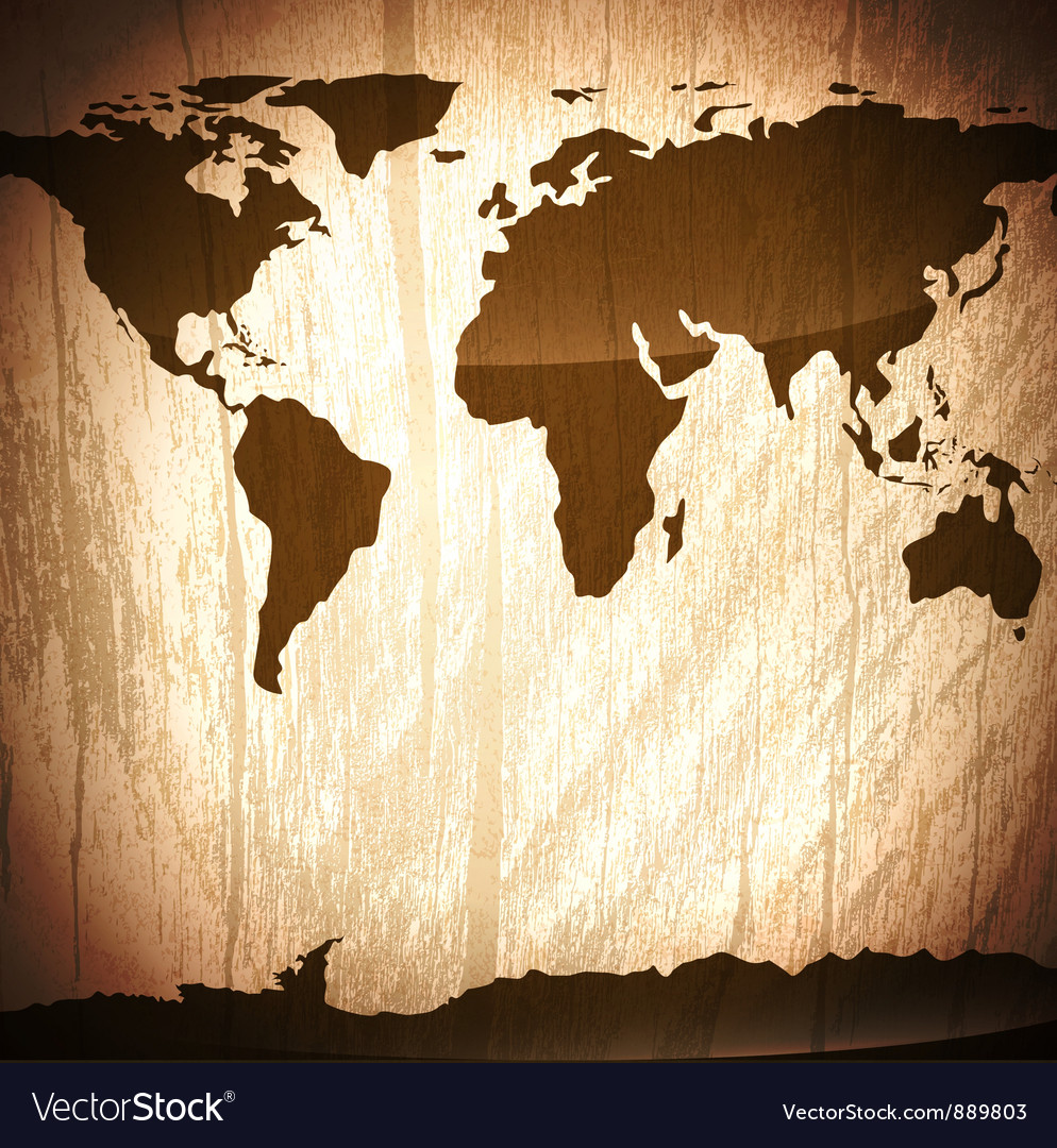 Wooden background with world map vector | Price: 1 Credit (USD $1)