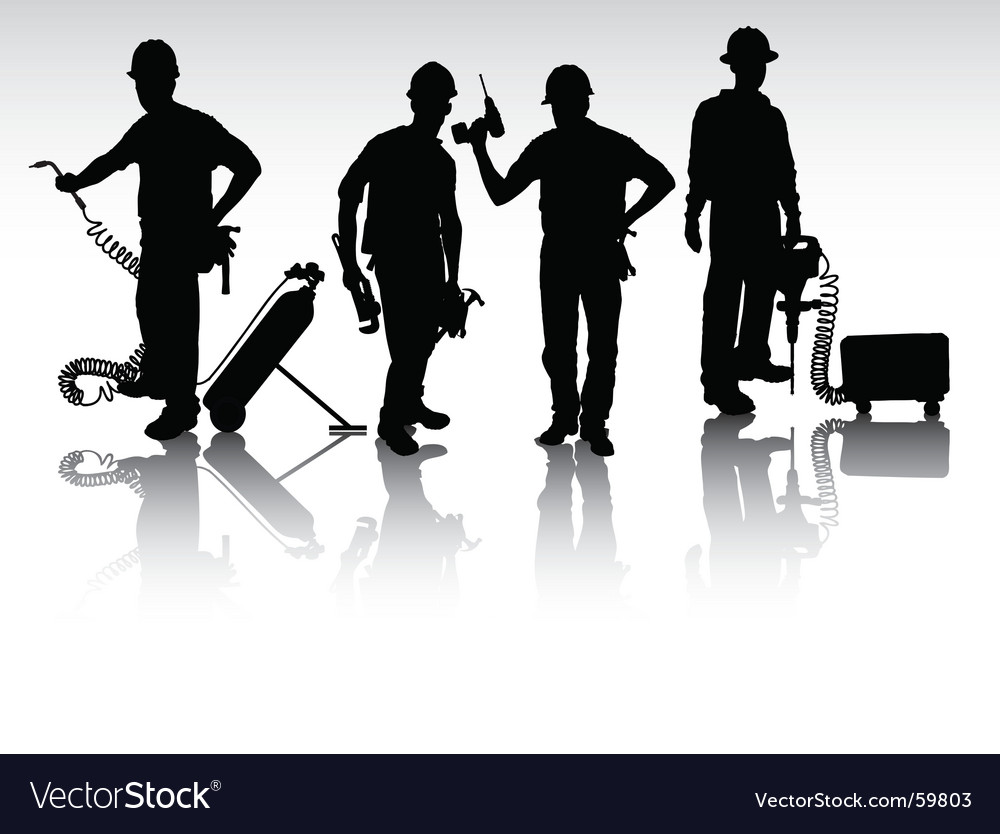 Workers with different tools vector | Price: 1 Credit (USD $1)