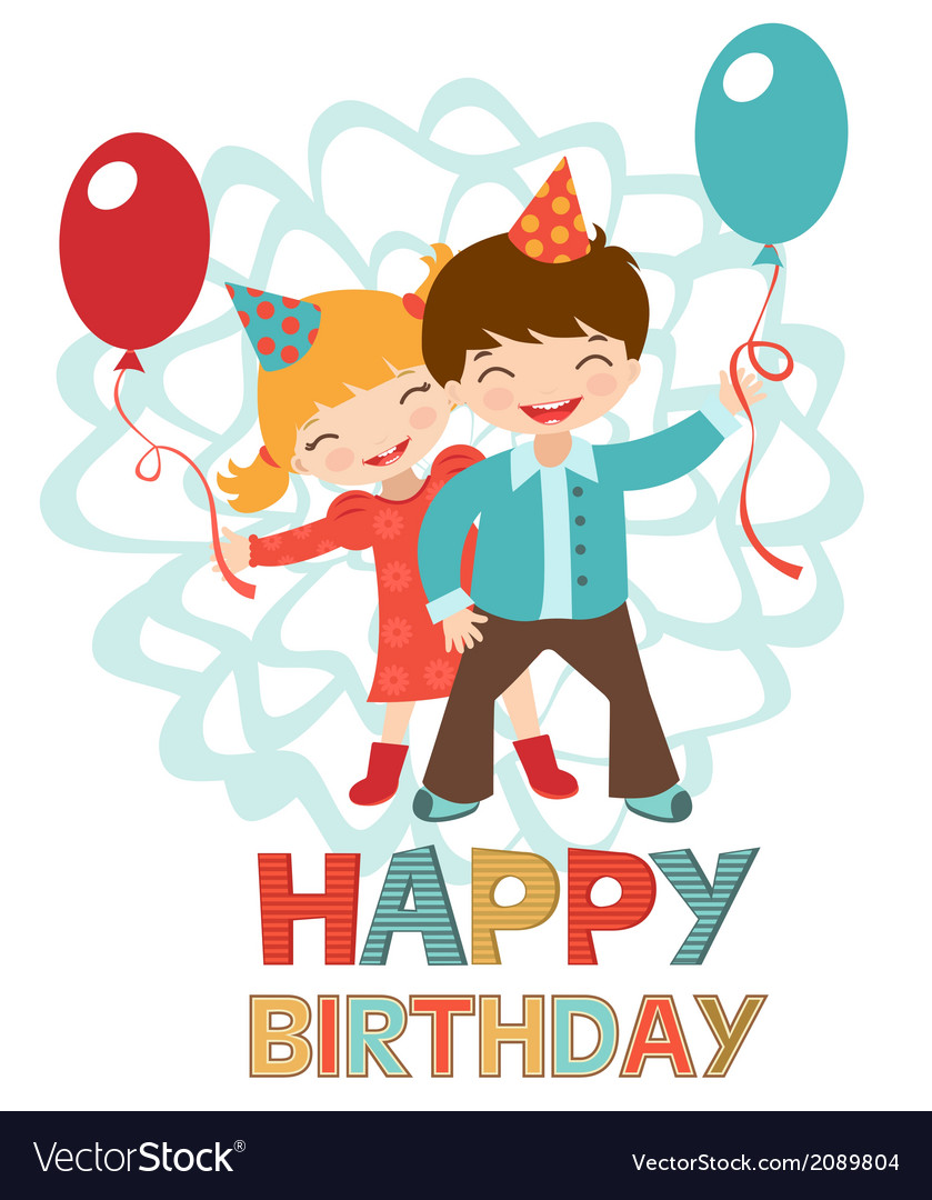 Birthday card with happy kids vector | Price: 1 Credit (USD $1)