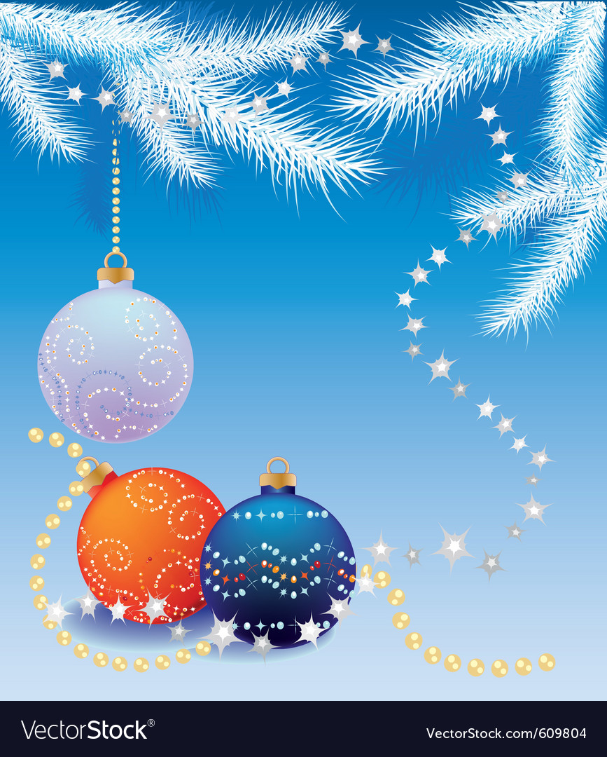 Blue christmas background with christmas tree ball vector | Price: 1 Credit (USD $1)