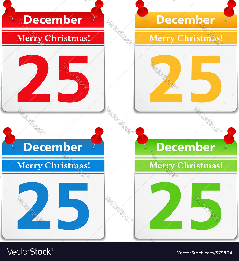 Calendar pages with 25 december vector | Price: 1 Credit (USD $1)