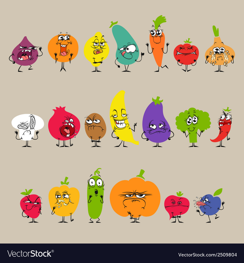 Cartoon fruits and vegetables with facial vector | Price: 1 Credit (USD $1)
