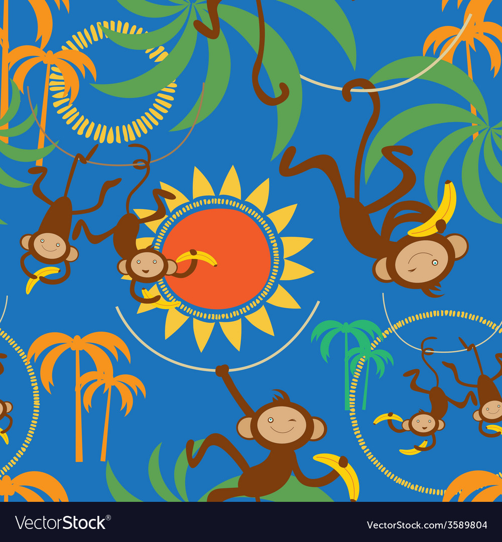 Cartoon seamless pattern with cute monkey vector   Price: 1 Credit (USD $1)