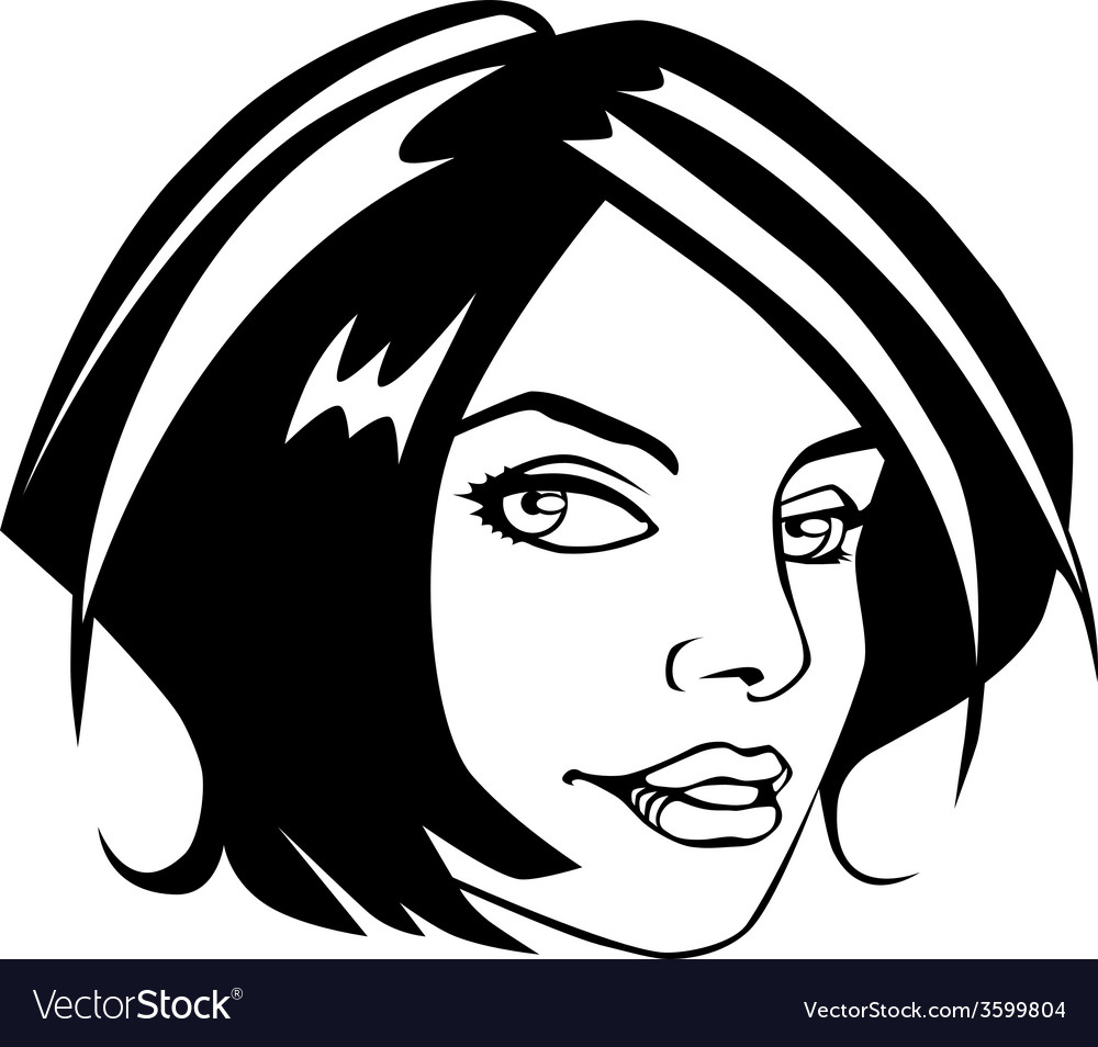 Comic book style girl face vector | Price: 1 Credit (USD $1)