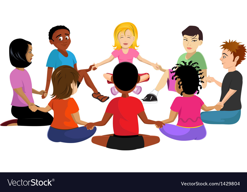 Kids sitting in a circle vector | Price: 1 Credit (USD $1)