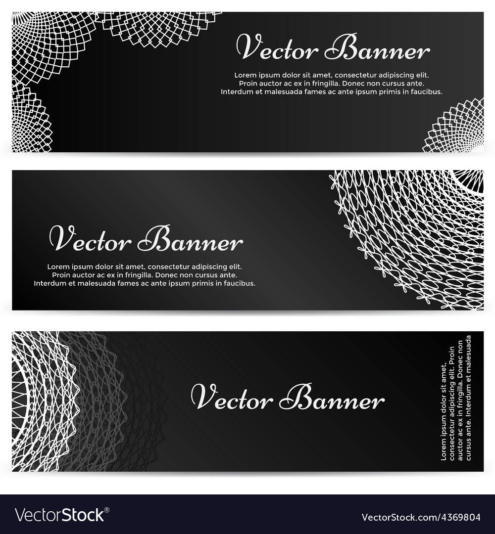 Lacework ornamental banners horizontal set vector | Price: 1 Credit (USD $1)