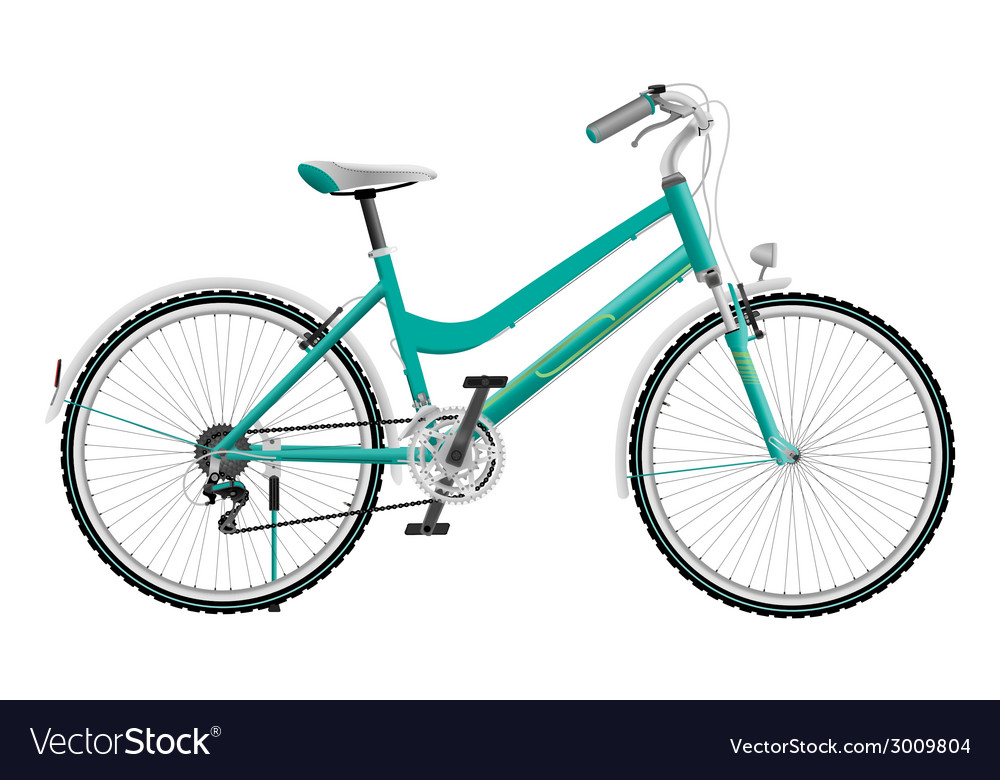 Ladys cyan sports bike isolated on white vector | Price: 1 Credit (USD $1)