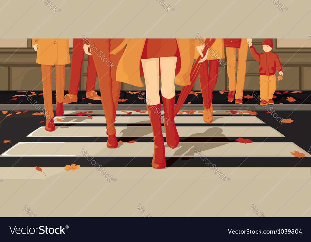 People crossing the autumn street vector | Price: 1 Credit (USD $1)