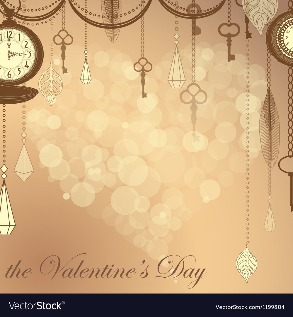 Valentines card with flare heart ans antique vector | Price: 1 Credit (USD $1)