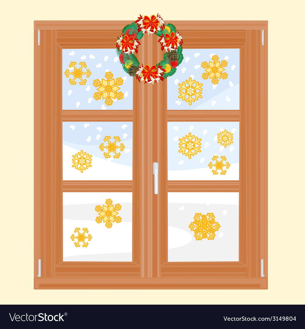 Winter window with christmas wreath vector | Price: 1 Credit (USD $1)