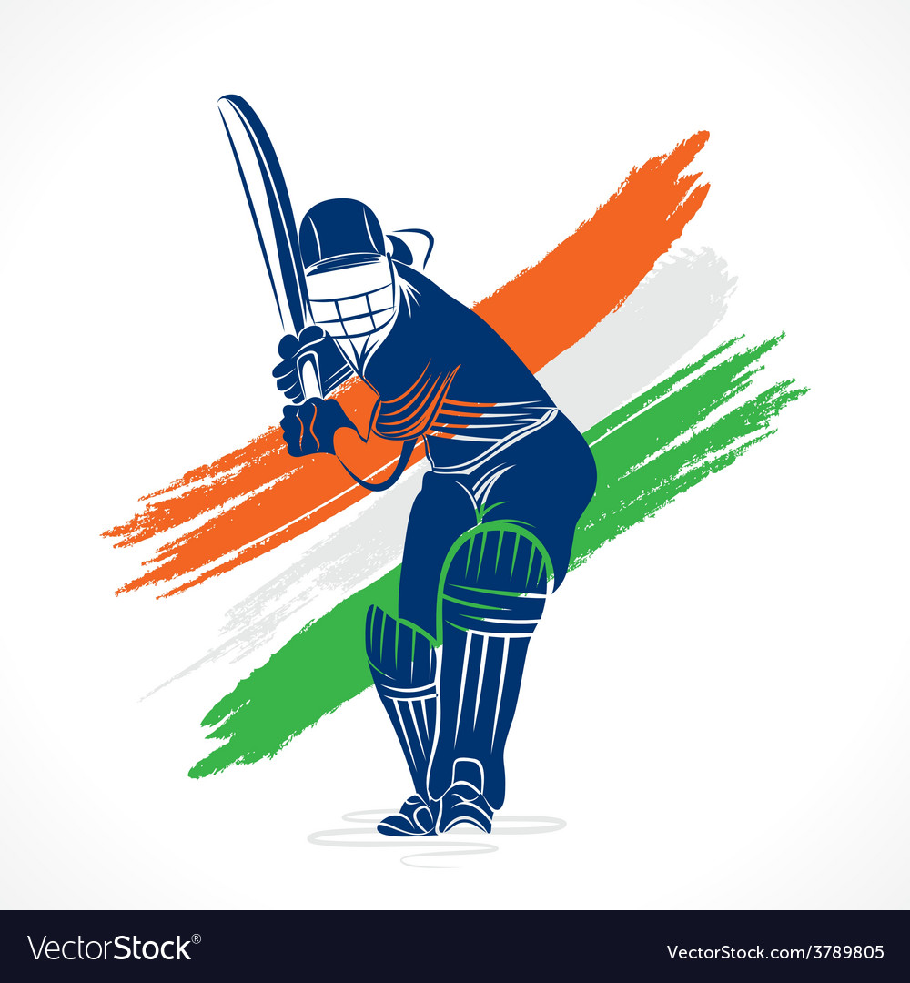 Abstract cricket player design by brush stroke vector | Price: 1 Credit (USD $1)