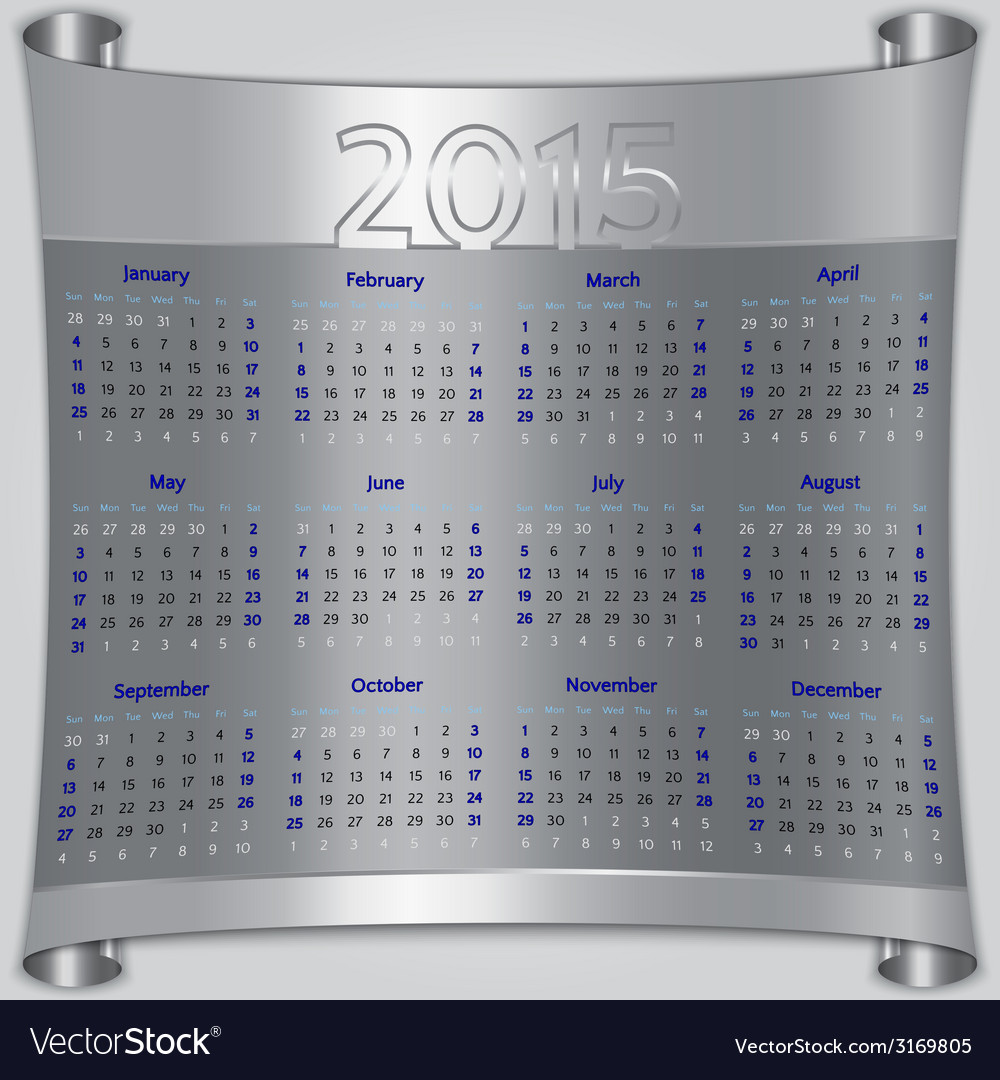 Calendar 2015 sunday first american week 12 months vector | Price: 1 Credit (USD $1)
