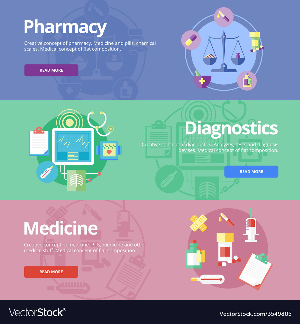 Set of flat design concepts for pharmacy vector | Price: 1 Credit (USD $1)
