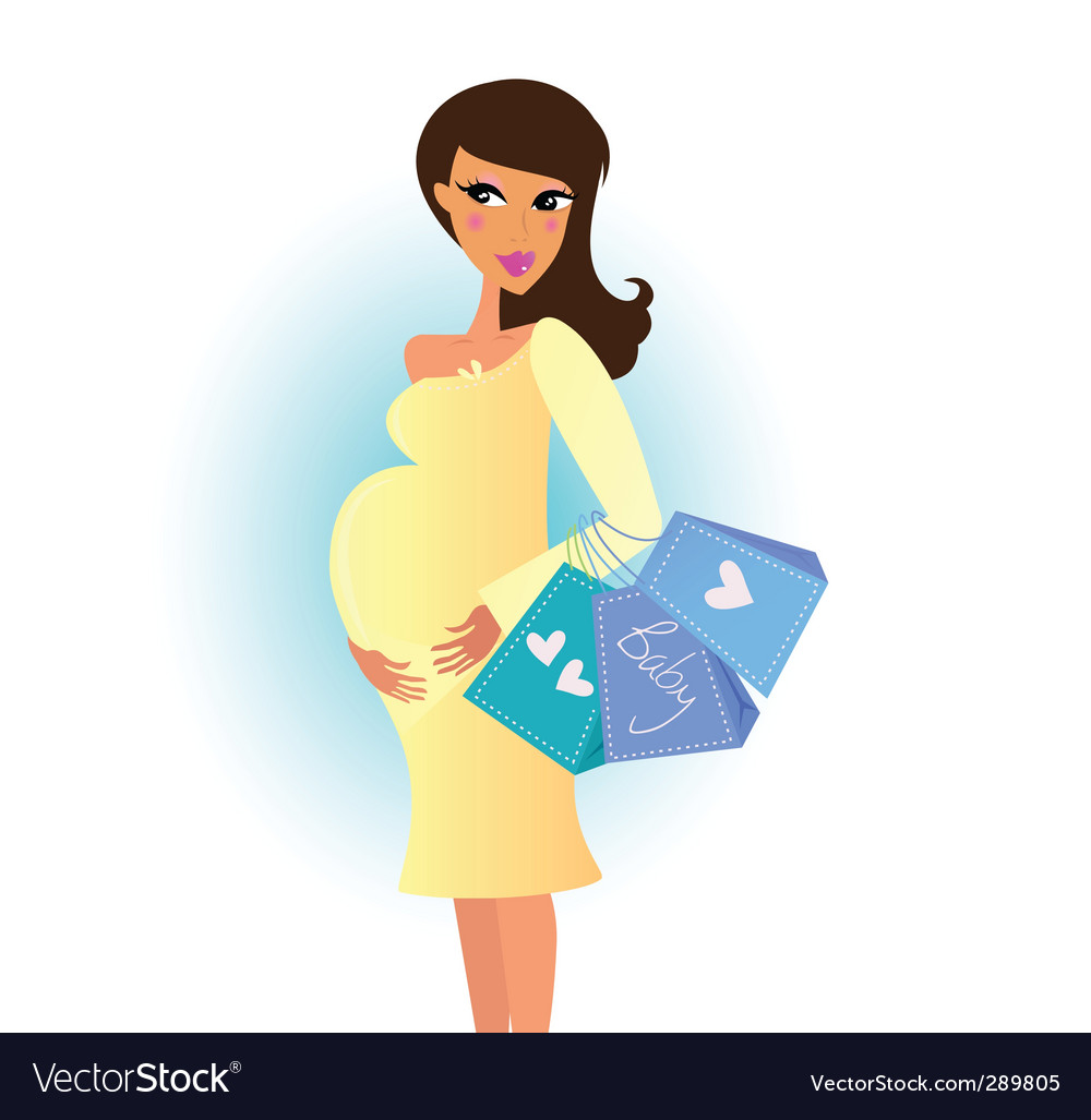 Shopping pregnant woman vector | Price: 3 Credit (USD $3)