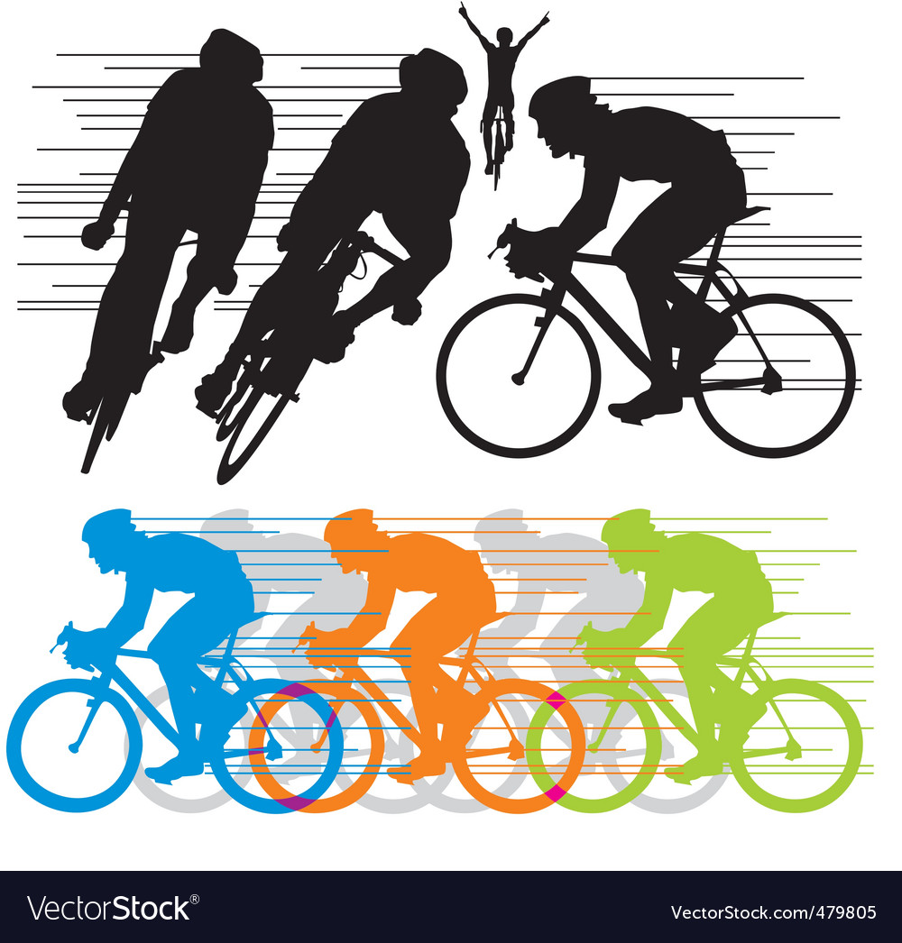 Silhouettes cyclist vector | Price: 1 Credit (USD $1)