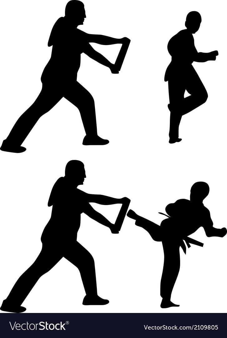 Taekwondo practice silhouette vector | Price: 1 Credit (USD $1)
