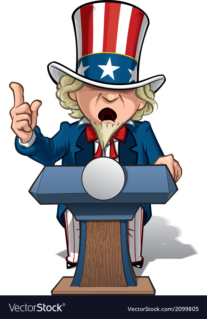 Uncle sam presidential podium grave vector | Price: 1 Credit (USD $1)
