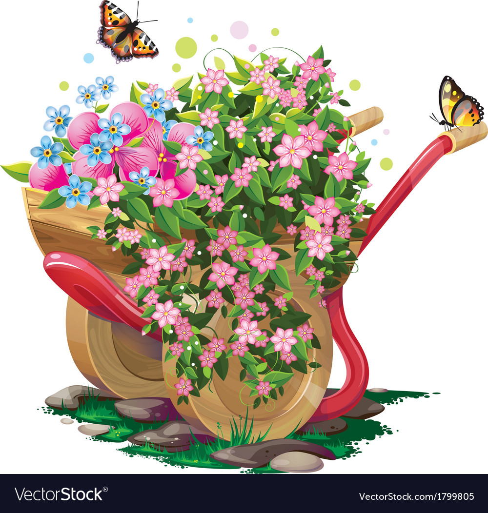 Wheelbarrow with flowers vector | Price: 3 Credit (USD $3)