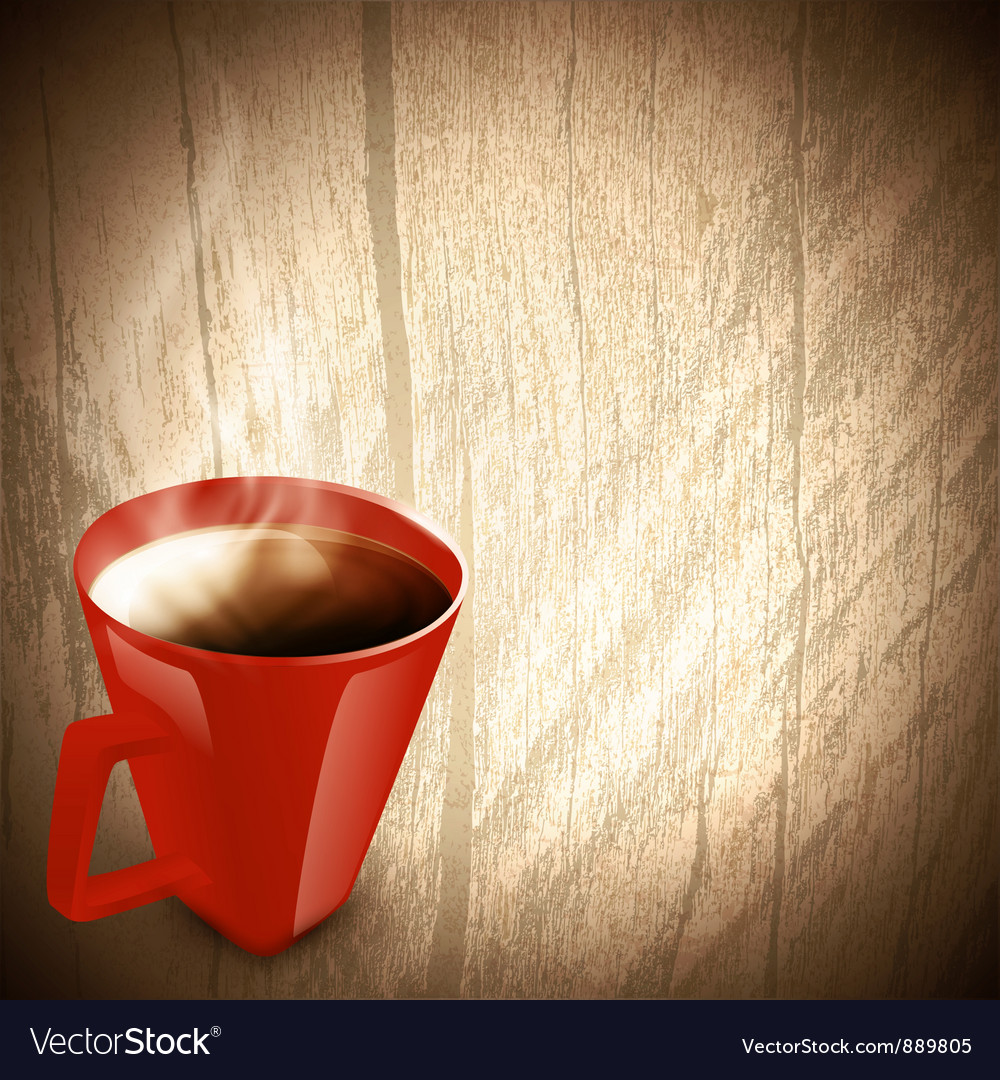 Wooden background with red cup of coffee vector | Price: 1 Credit (USD $1)