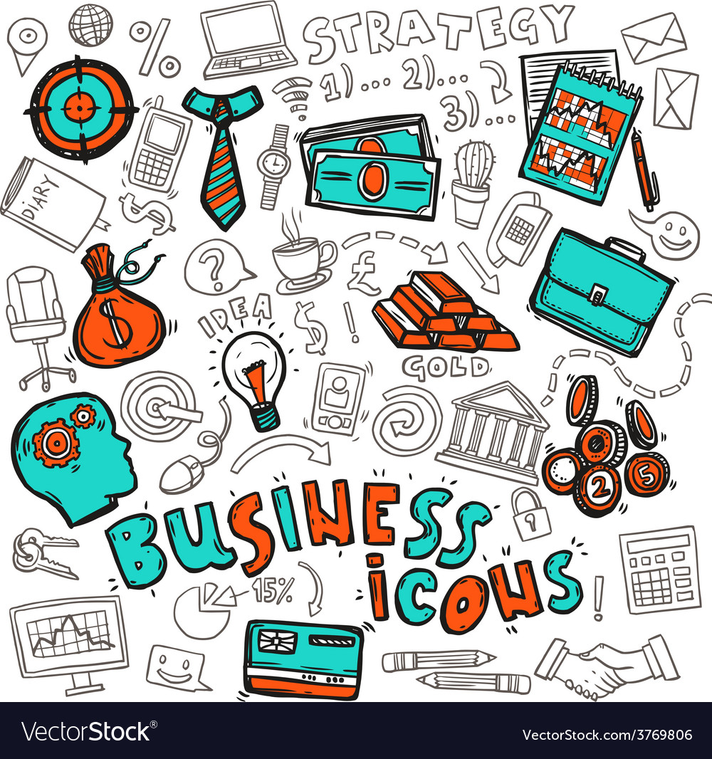Business icons doodle sketch vector | Price: 1 Credit (USD $1)