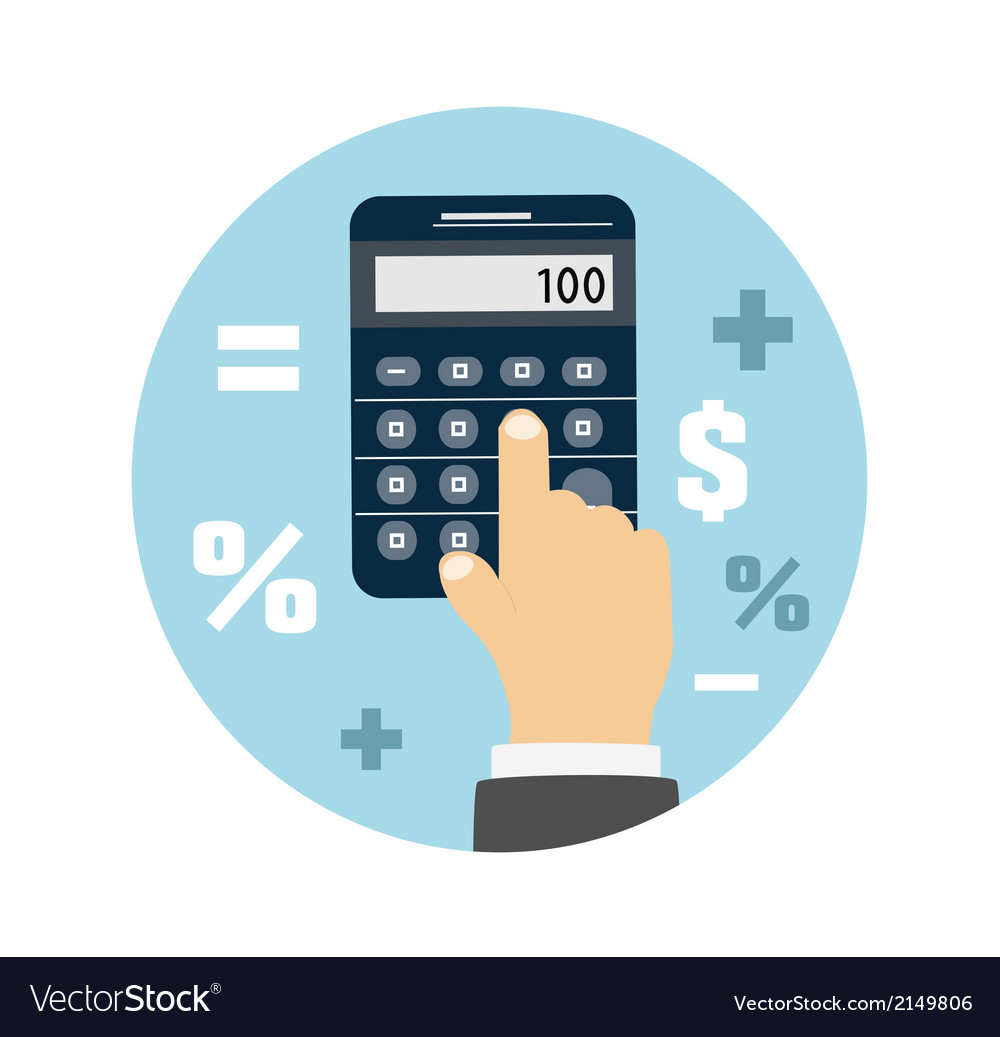 Calculator icon business concept with mathematics vector | Price: 1 Credit (USD $1)
