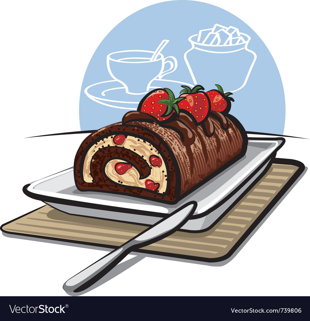 Chocolate roll cake with strawberries vector | Price: 3 Credit (USD $3)