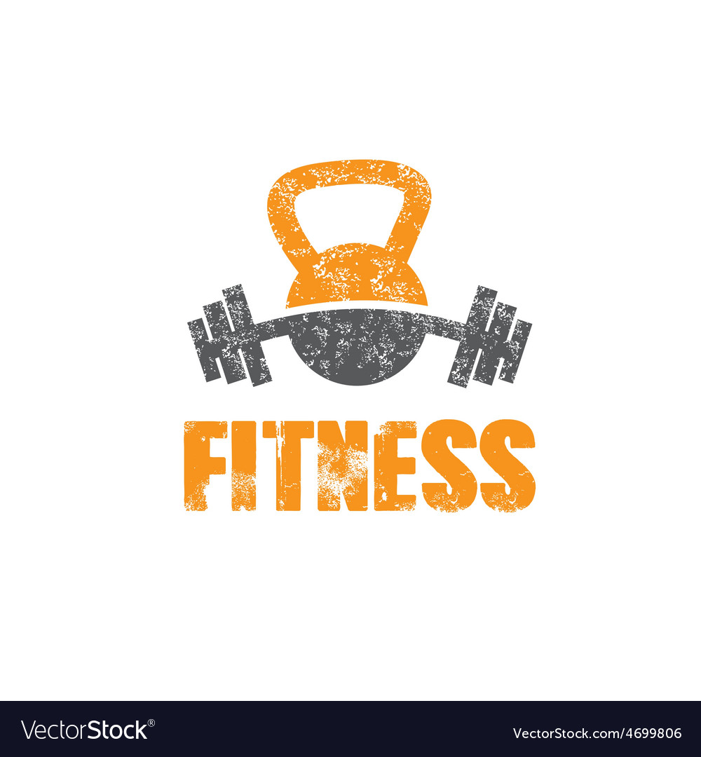Grunge kettlebell and barbell design template vector