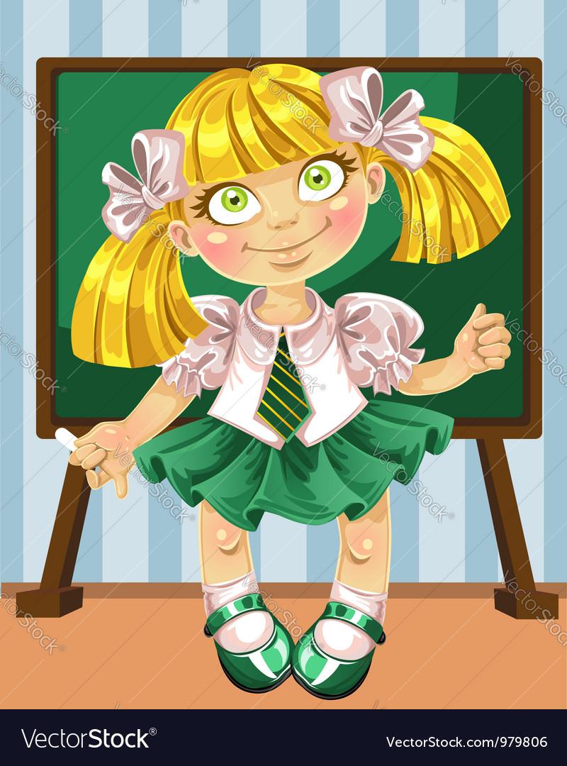 Little schoolgirl at the board vector   Price: 3 Credit (USD $3)