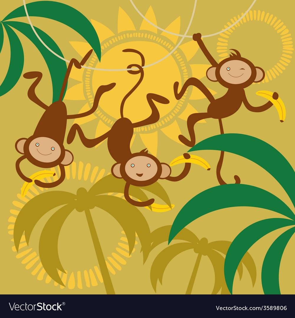 Monkey and bananas vector   Price: 1 Credit (USD $1)