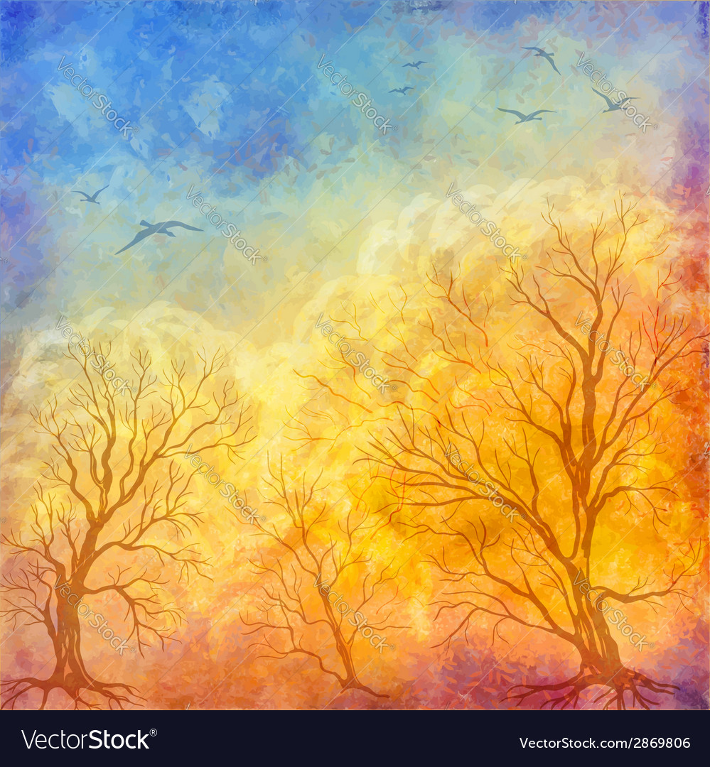 Oil painting autumn trees flying birds vector | Price: 1 Credit (USD $1)