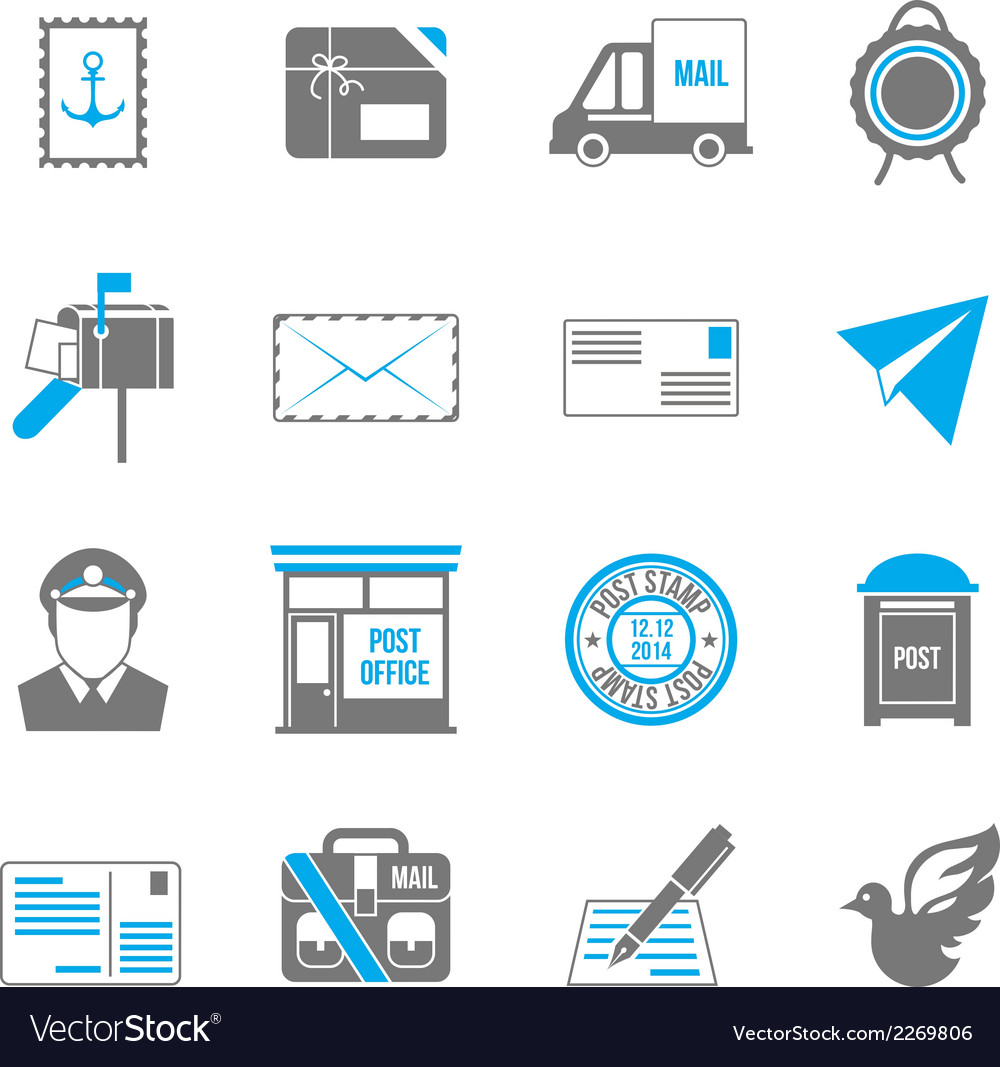 Post service icons vector | Price: 1 Credit (USD $1)