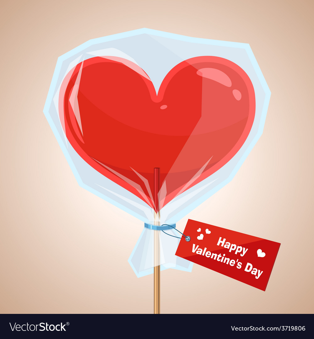 Red lollipop in the form of heart on vector | Price: 1 Credit (USD $1)