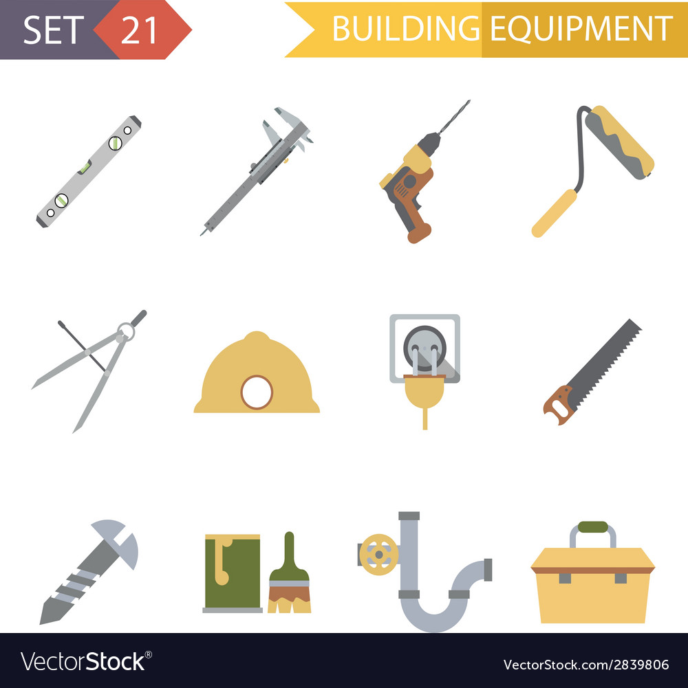 Retro flat building equipment icons and vector | Price: 1 Credit (USD $1)