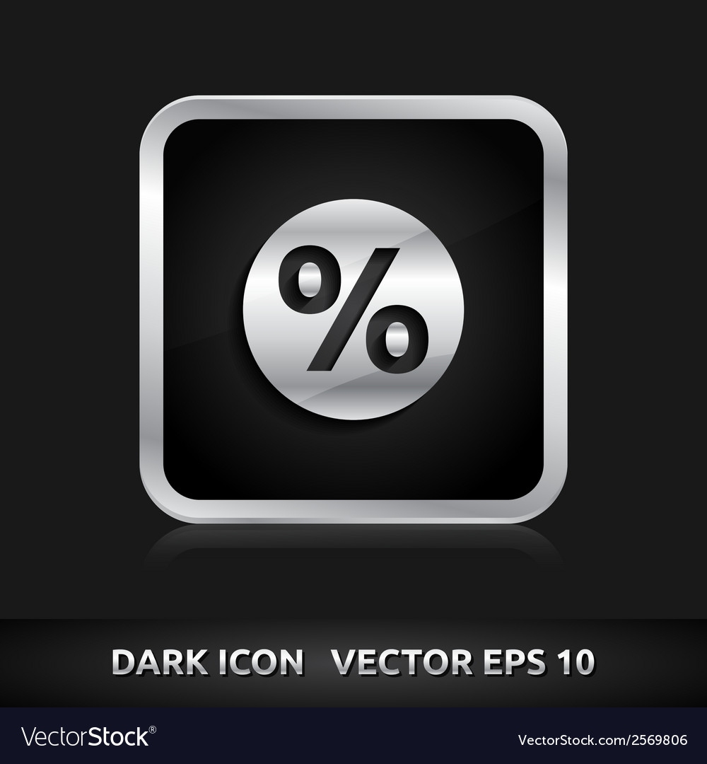 Sale percent icon silver metal vector | Price: 1 Credit (USD $1)