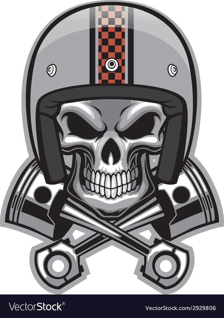 Skull and crossed piston vector